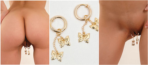 Gold Butterflies Non Pierce Labia Clips